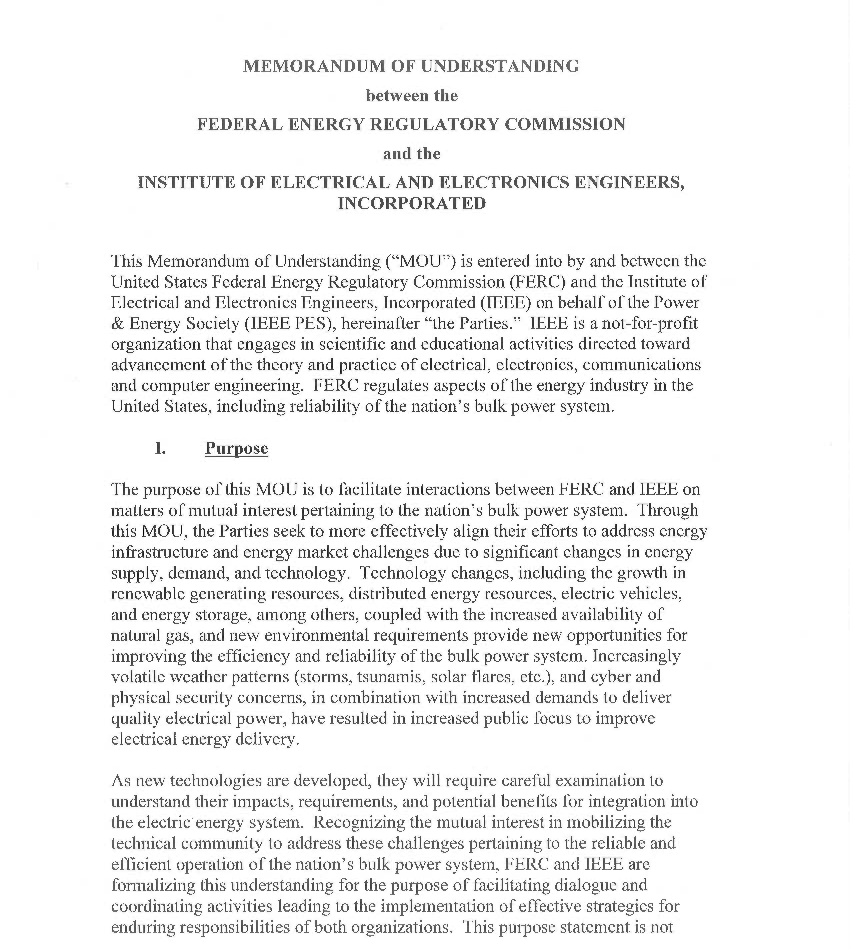Memorandum Of Understanding Between The Ferc And Ieee  Ieee Power