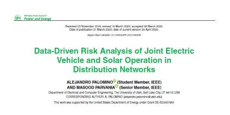 Data-Driven Risk Analysis of Joint Electric Vehicle and Solar Operation in Distribution Networks