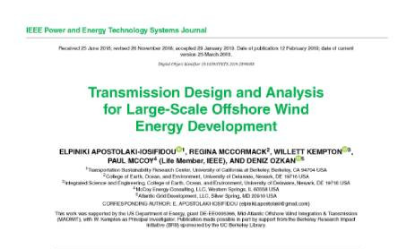 Transmission Design and Analysis for Large-Scale Offshore Wind Energy Development
