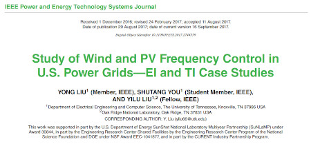 Study of Wind and PV Frequency Control in U.S. Power Grids—EI and TI Case Studies